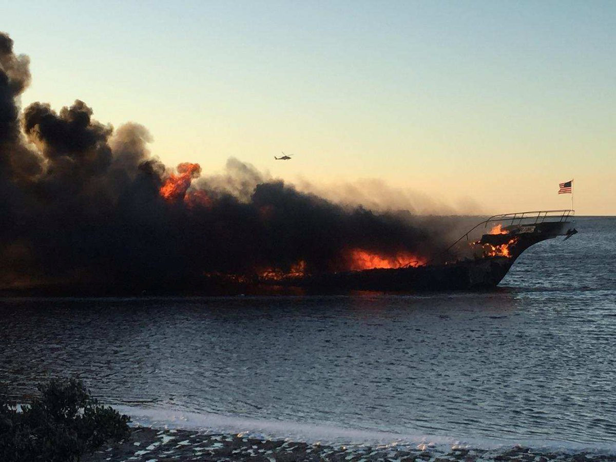 A fire breaks out on a SunCruz casino boat at Port Richey, Florida, U,S, January 14, 2018 in this picture obtained from social media.
