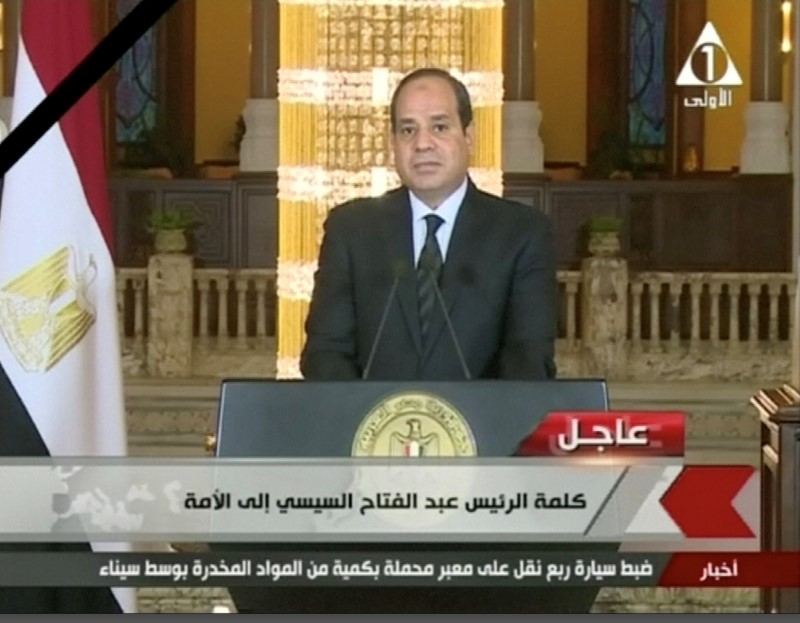 Egyptian President Abdel Fattah Al Sisi gives a televised statement on the attack in North Sinai, in Cairo, Egypt November 24, 2017 in this still taken from video.