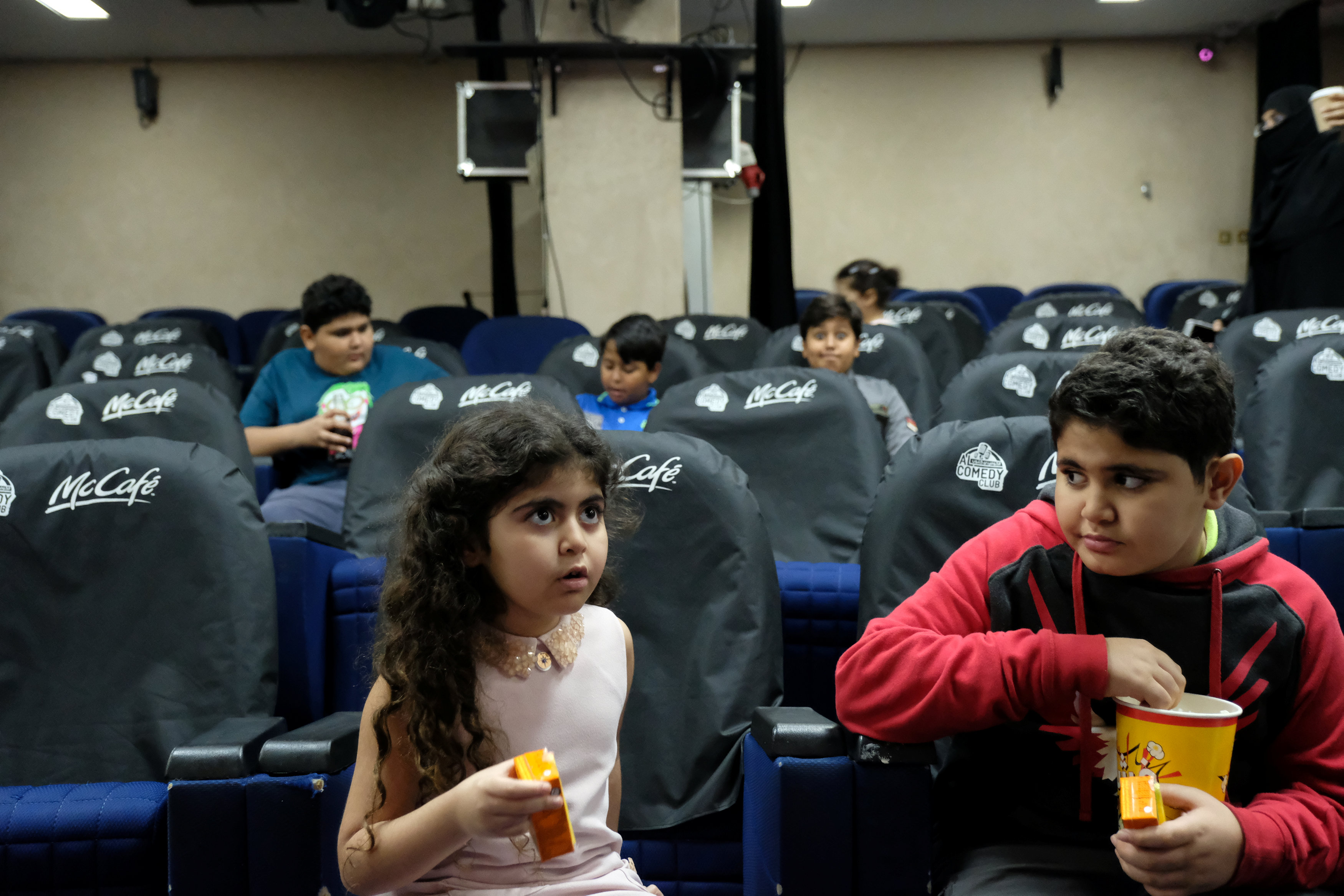 Children are seen inside the first Saudi Arabia cinema in Jeddah, Saudi Arabia January 13, 2018. Picture taken January 13, 2018.