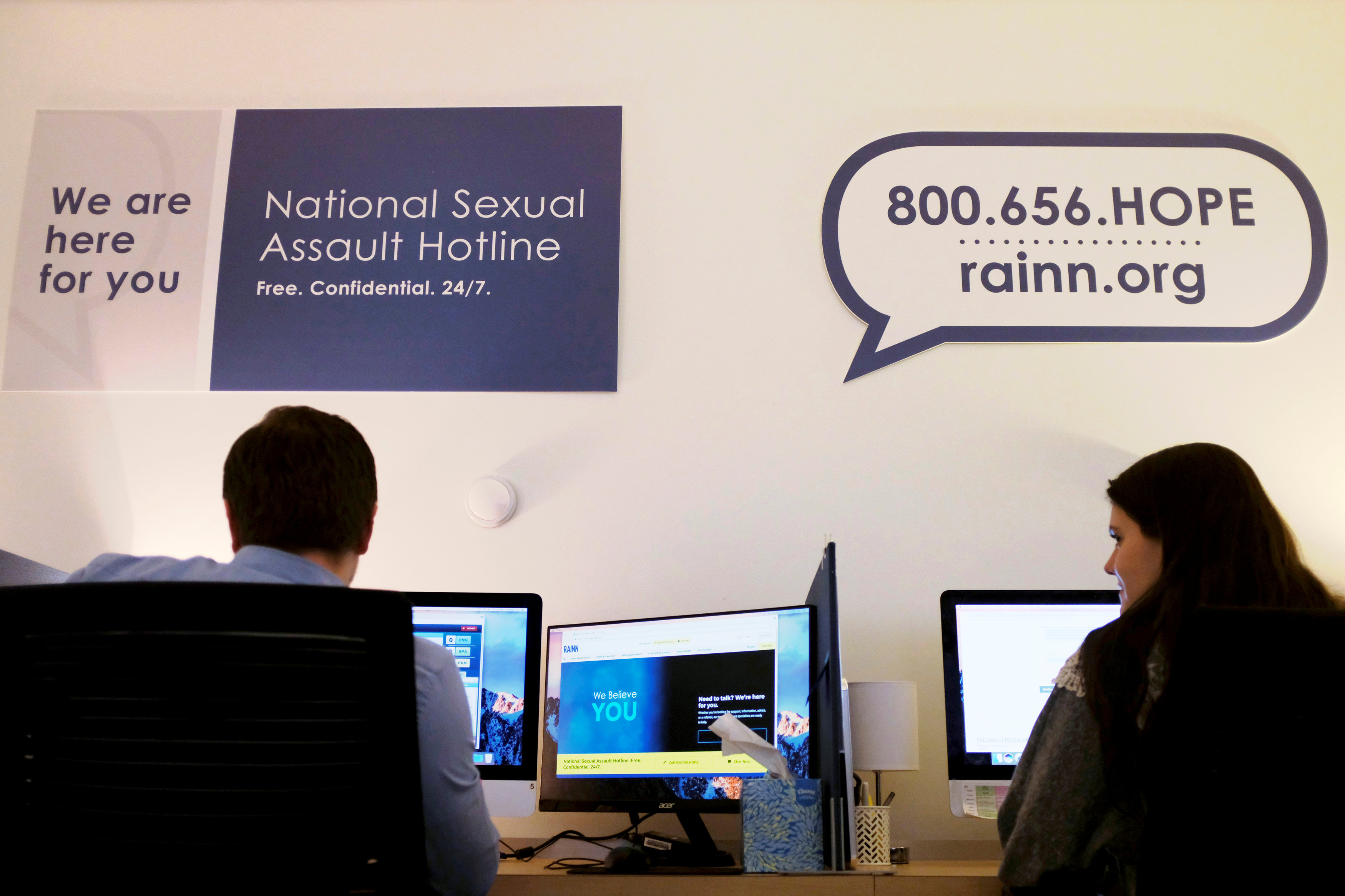 Volunteers on the National Sexual Assault Hotline work both over the phone and via web chat at the offices of the U.S.'s largest anti-sexual violence organization, the Rape Abuse Incest National Network, in Washington, U.S., January 12, 2018.