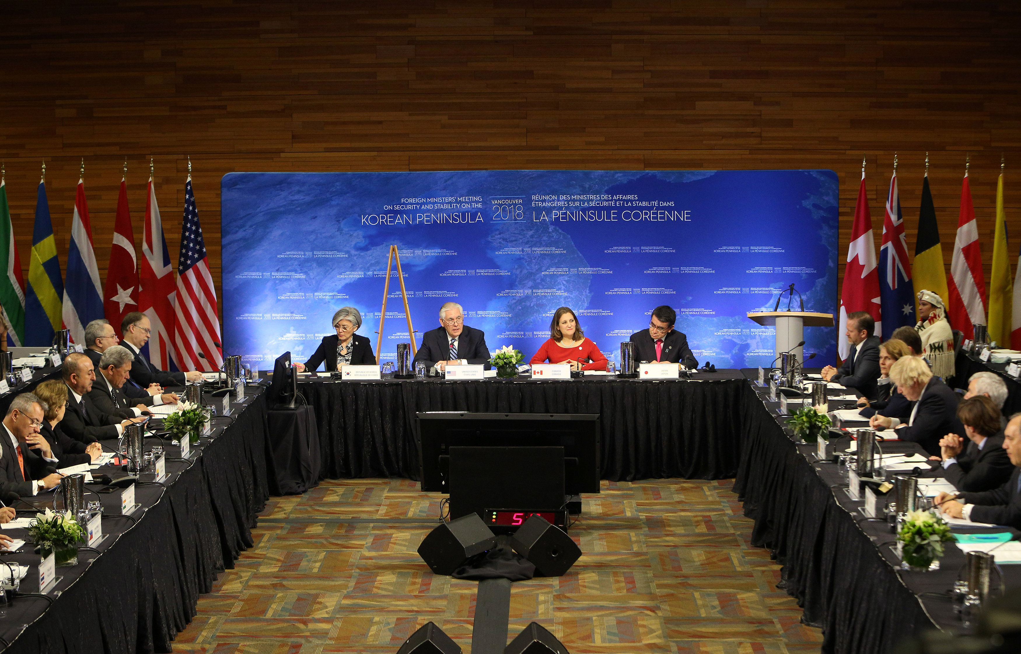 South Korean Minister of Foreign Affairs Kang Kyung-wha, U.S. Secretary of State Rex Tillerson, Canada's Minister of Foreign Affairs Chrystia Freeland and Japan's Minister of Foreign Affairs Taro Kono are seen during the Foreign Ministers' Meeting on Security and Stability on the Korean Peninsula in Vancouver, British Columbia, Canada January 16, 2018.