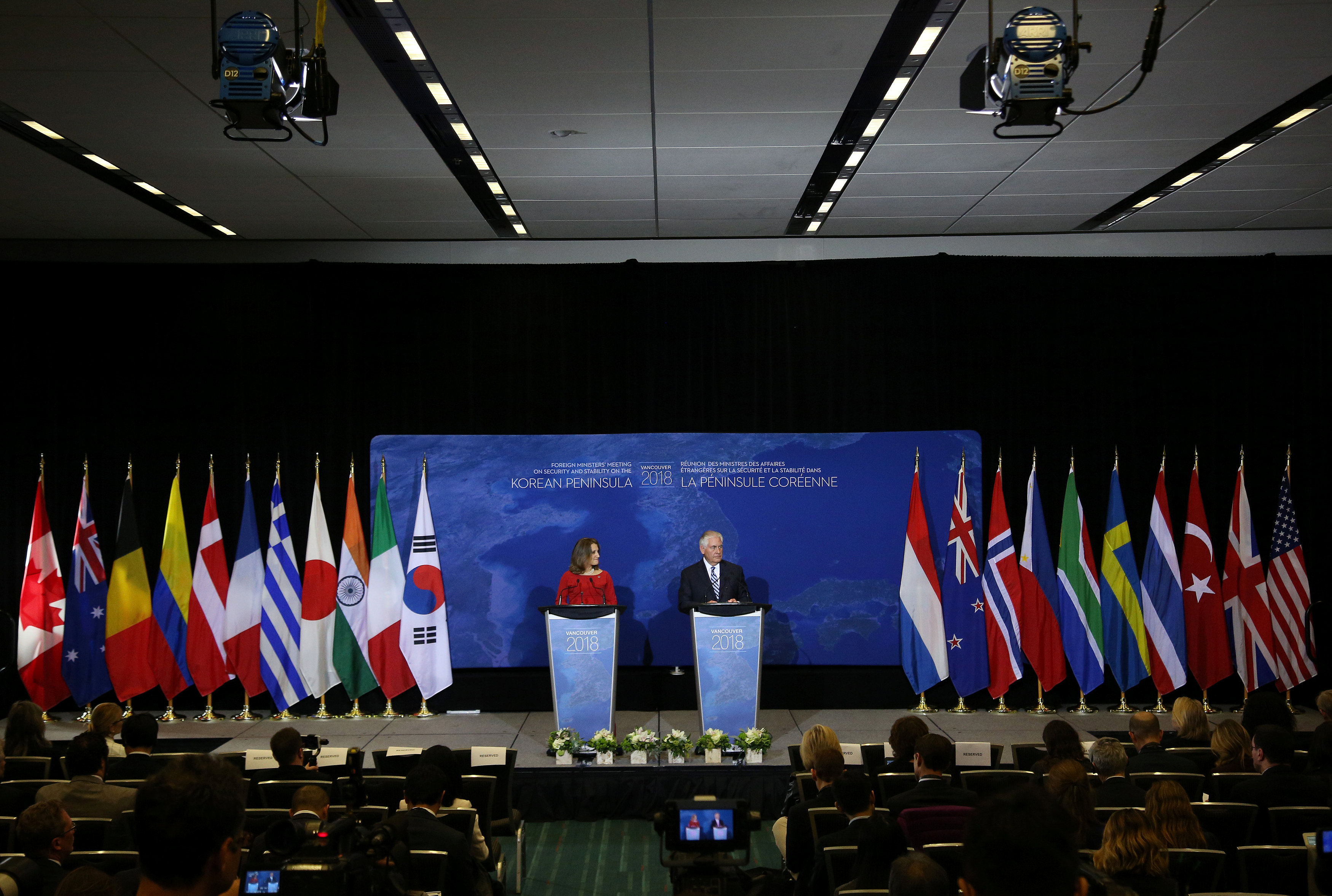 U.S. Secretary of State Rex Tillerson and Canada's Foreign Minister Chrystia Freeland speak at a news conference during the Foreign Ministers' Meeting on Security and Stability on the Korean Peninsula in Vancouver, British Columbia, Canada, January 16, 2018.