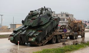 A Turkish military tank arrives at an army base in the border town of Reyhanli near the Turkish-Syrian border in Hatay province, Turkey January 17, 2018.