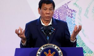 Philippines' President Rodrigo Duterte Rodrigo Duterte gestures during a news conference on the sidelines of the Association of South East Asian Nations (ASEAN) summit in Pasay, metro Manila, Philippines, November 14, 2017.