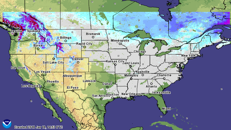 Snow cover in the U.S. 1-18-18 - National Weather Service