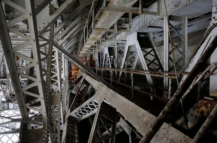 : Steel beams on the draw span, which needs replacement, are shown on the Arlington Memorial Bridge in Washington, U.S., June 20, 2016.