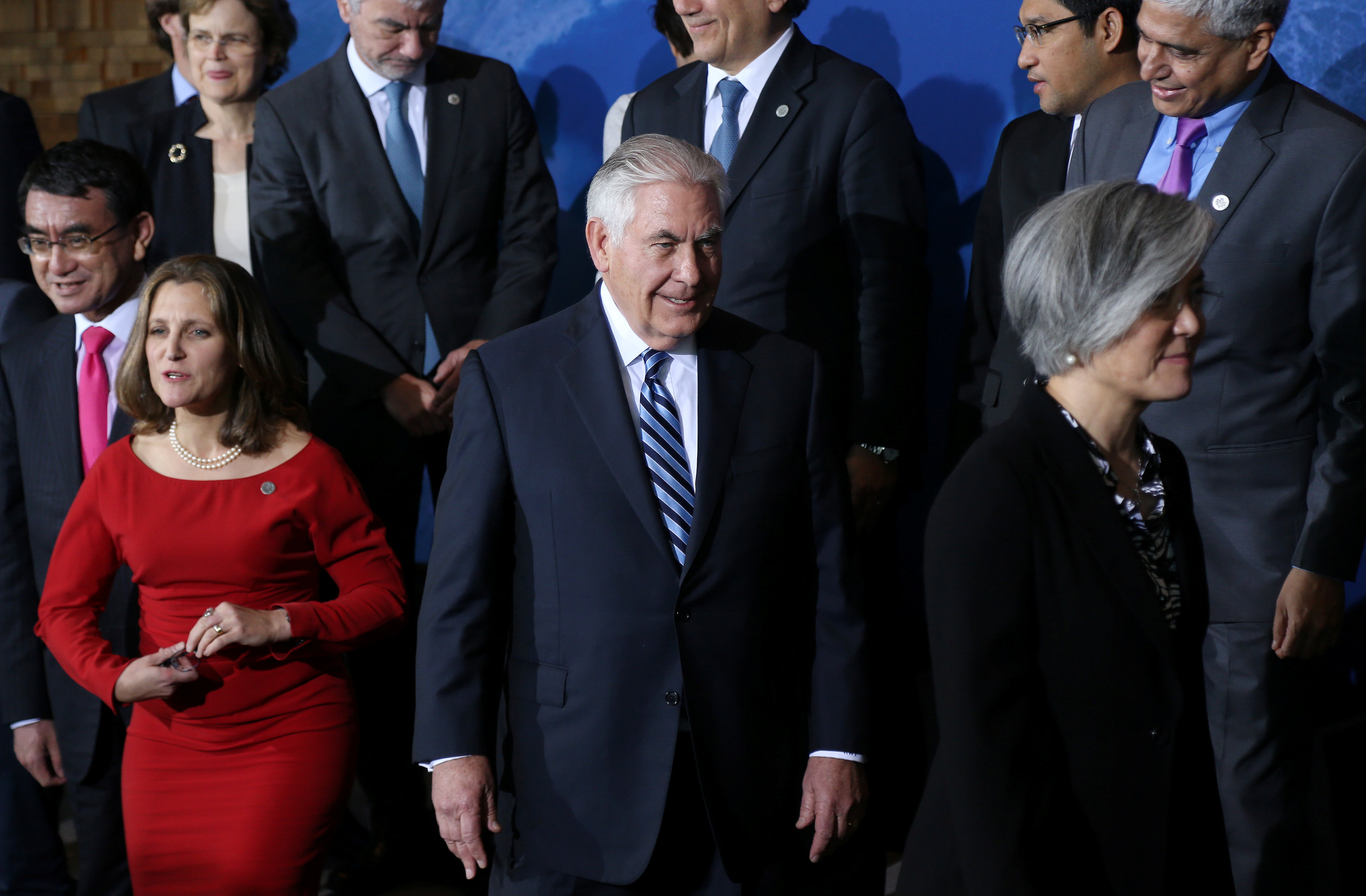 U.S. Secretary of State Rex Tillerson is pictured after a photo op during the Foreign Ministers' Meeting on Security and Stability on the Korean Peninsula in Vancouver, British Columbia, Canada, January 16, 2018.