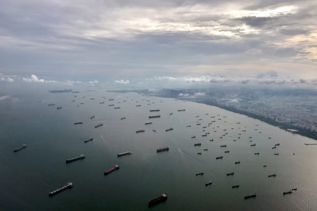 A bird's-eye view of ships along the coast in Singapore July 9, 2017.