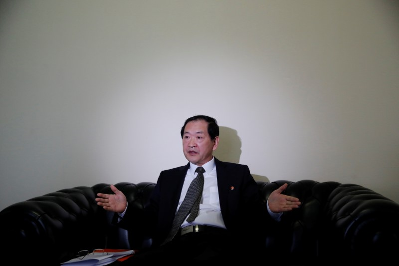 FILE PHOTO: North Korea's ambassador to the United Nations Han Tae Song attends an interview with Reuters at the Permanent Mission of North Korea in Geneva, Switzerland, November 17, 2017.