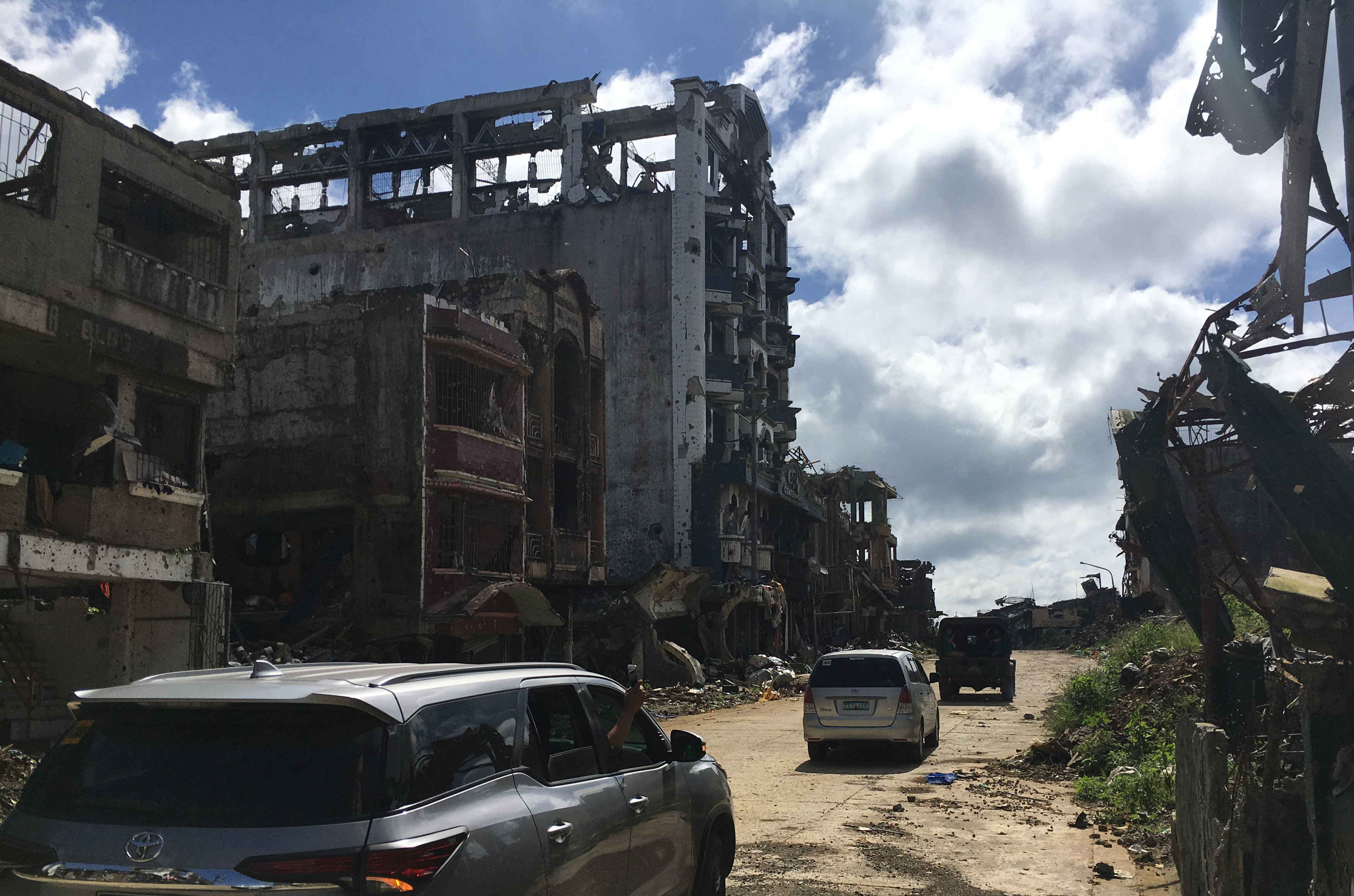 A view of the facade, of the battered Landbank building, looted by militants, in the early days of the Marawi siege, Philippines January 13, 2018.