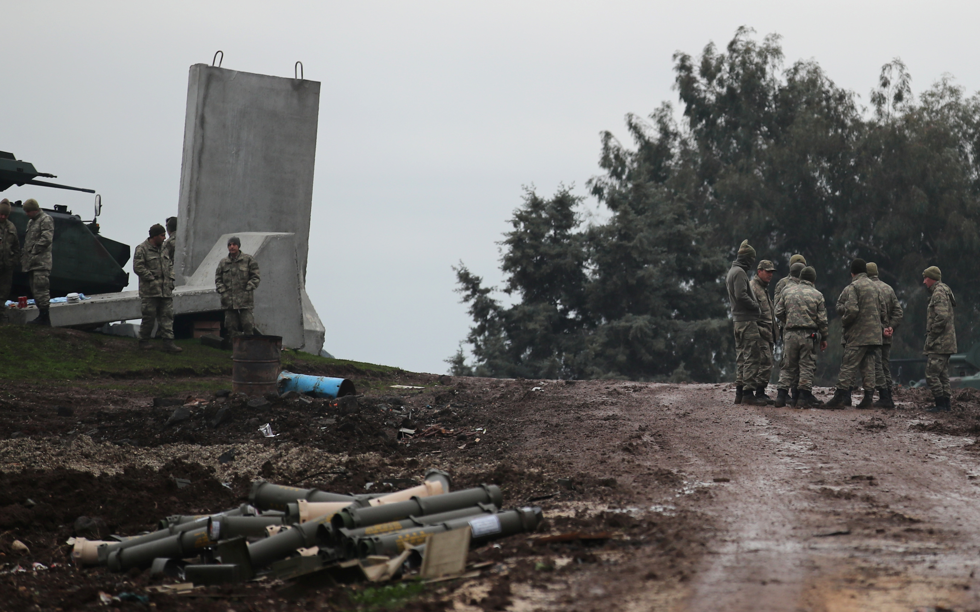 Turkish soldiers are pictured near the Turkish-Syrian border in Hatay province, Turkey January 24,