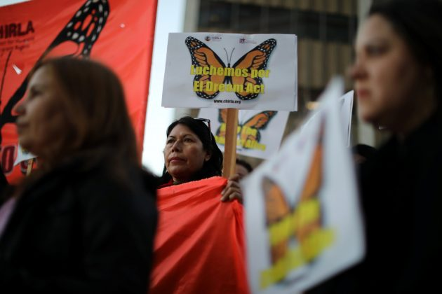 People protest for immigration reform for DACA recipients and a new Dream Act, in Los Angeles, California, U.S.