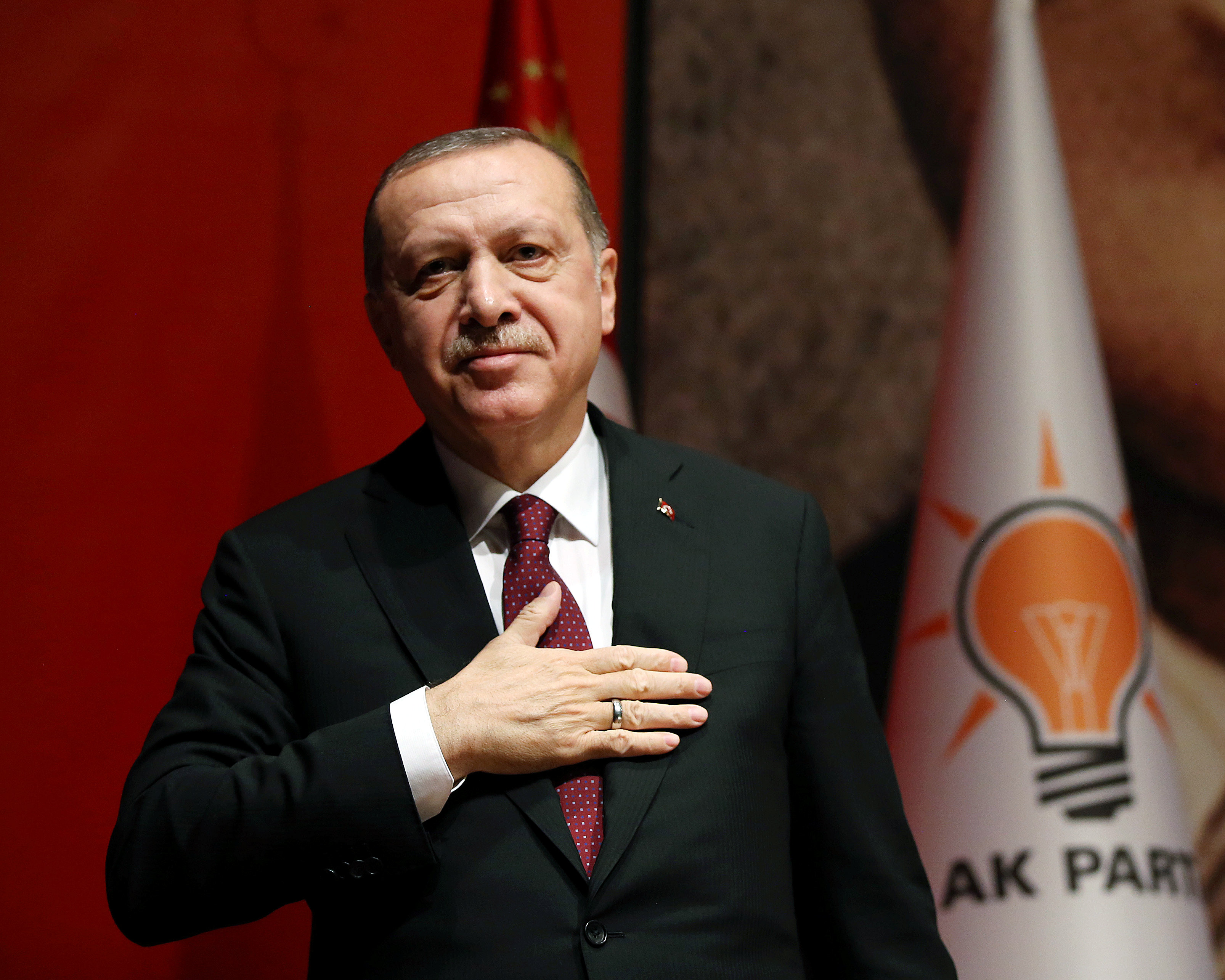 Turkish President Tayyip Erdogan attends a meeting of the ruling AK Party in Ankara, Turkey January 26, 2018. Yasin