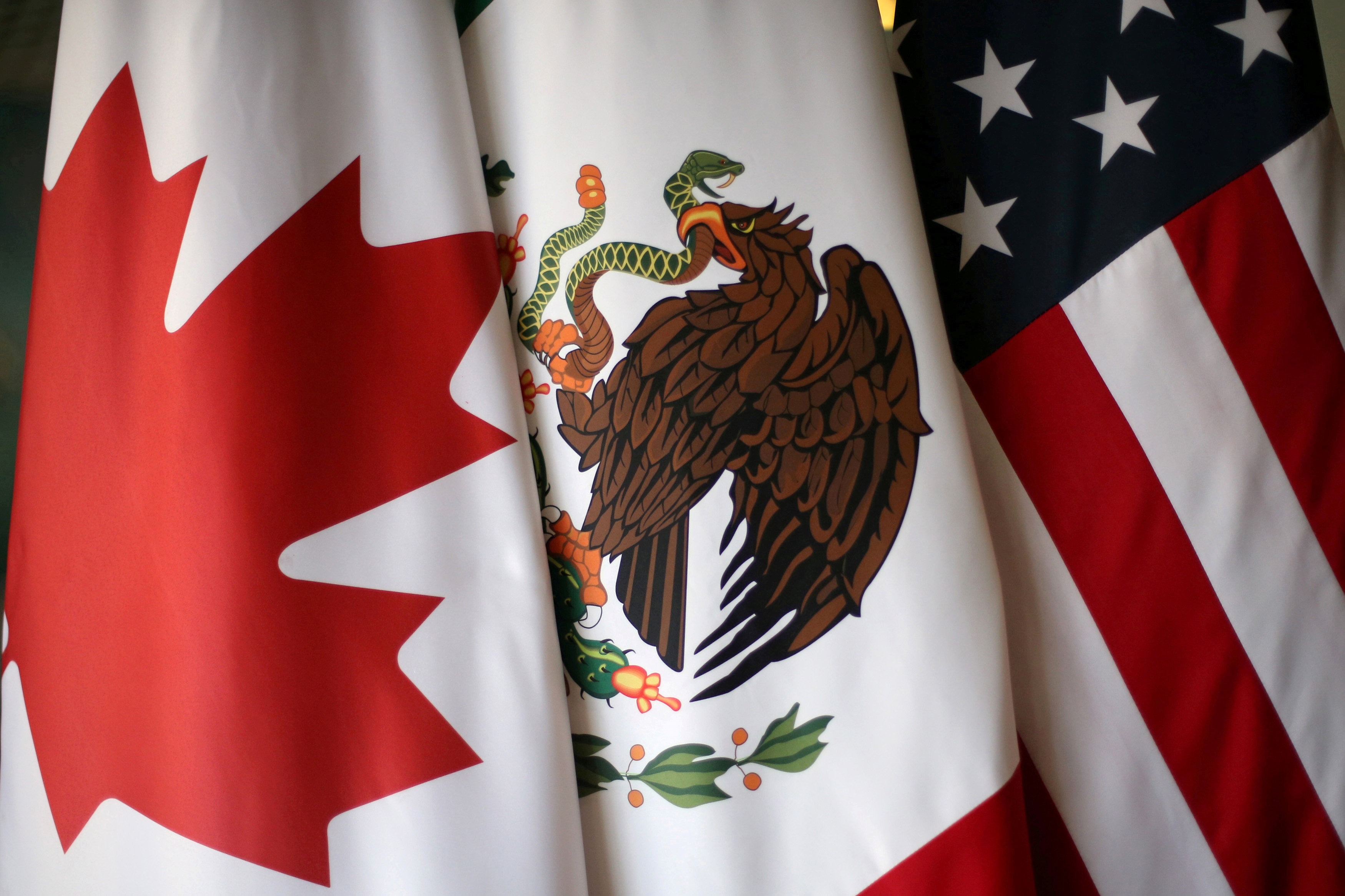 Flags are pictured during the fifth round of NAFTA talks involving the United States, Mexico and Canada, in Mexico City, Mexico, November 19, 2017.