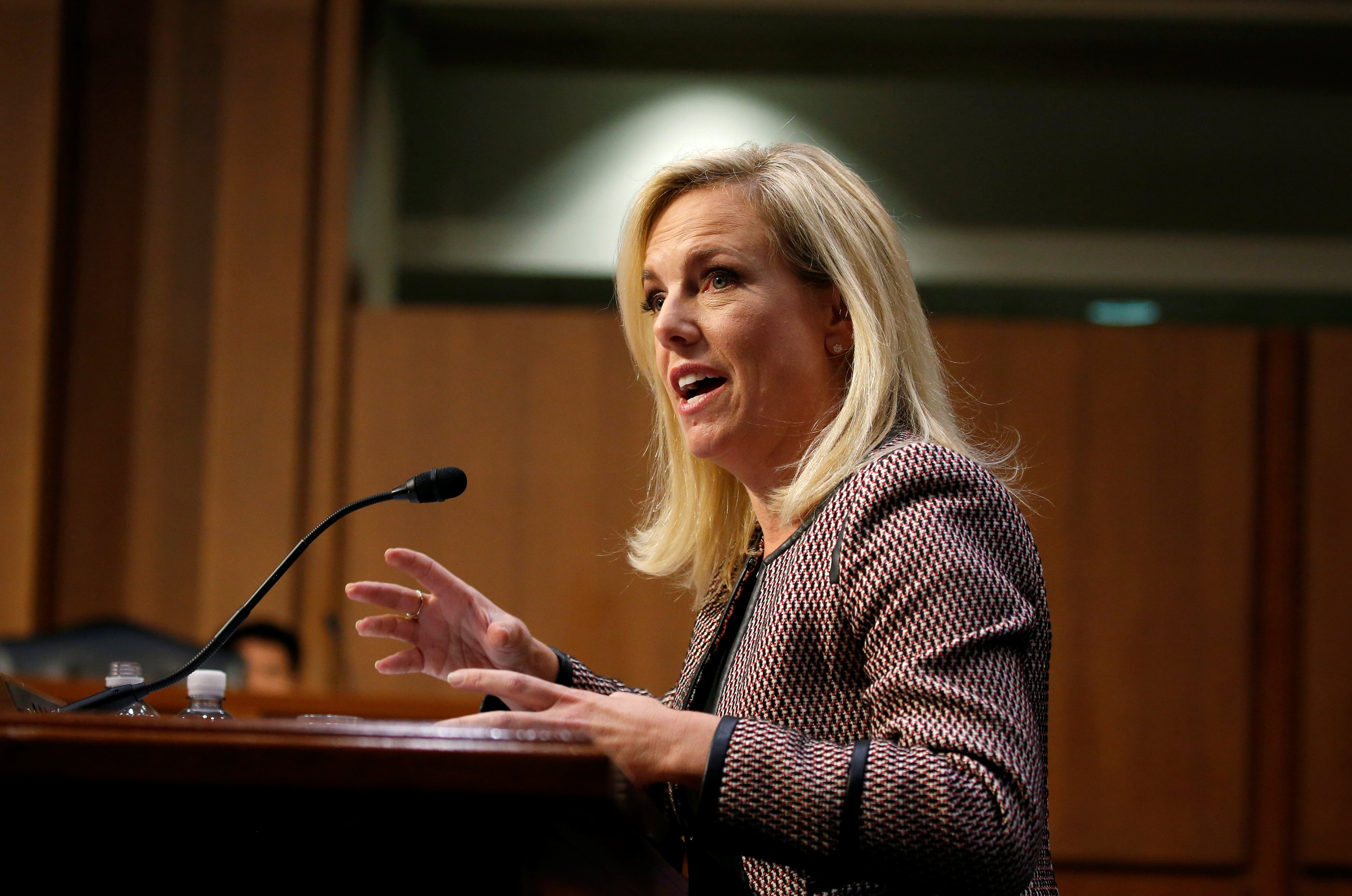 "U.S. Secretary of Homeland Security Kirstjen Nielsen testifies to the Senate Judiciary Committee on ""Oversight of the U.S. Department of Homeland Security"" on Capitol Hill in Washington, U.S., January 16, 2018."