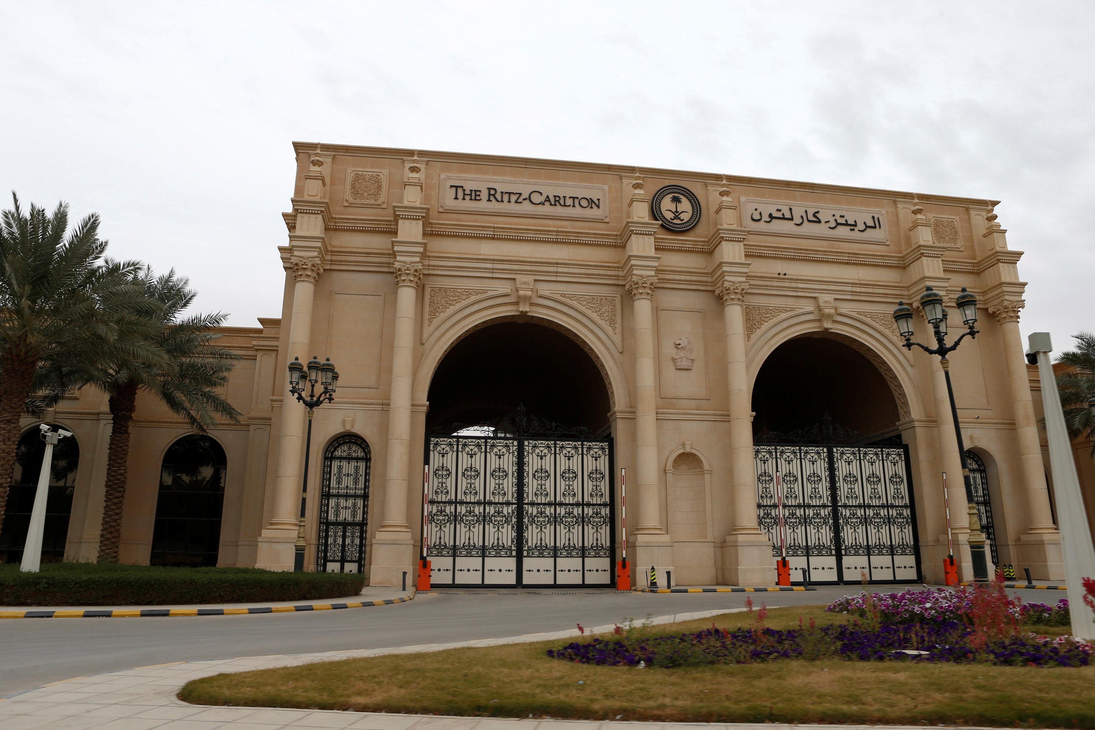A view shows the Ritz-Carlton hotel's entrance gate in the diplomatic quarter of Riyadh, Saudi Arabia, January 30, 2018.
