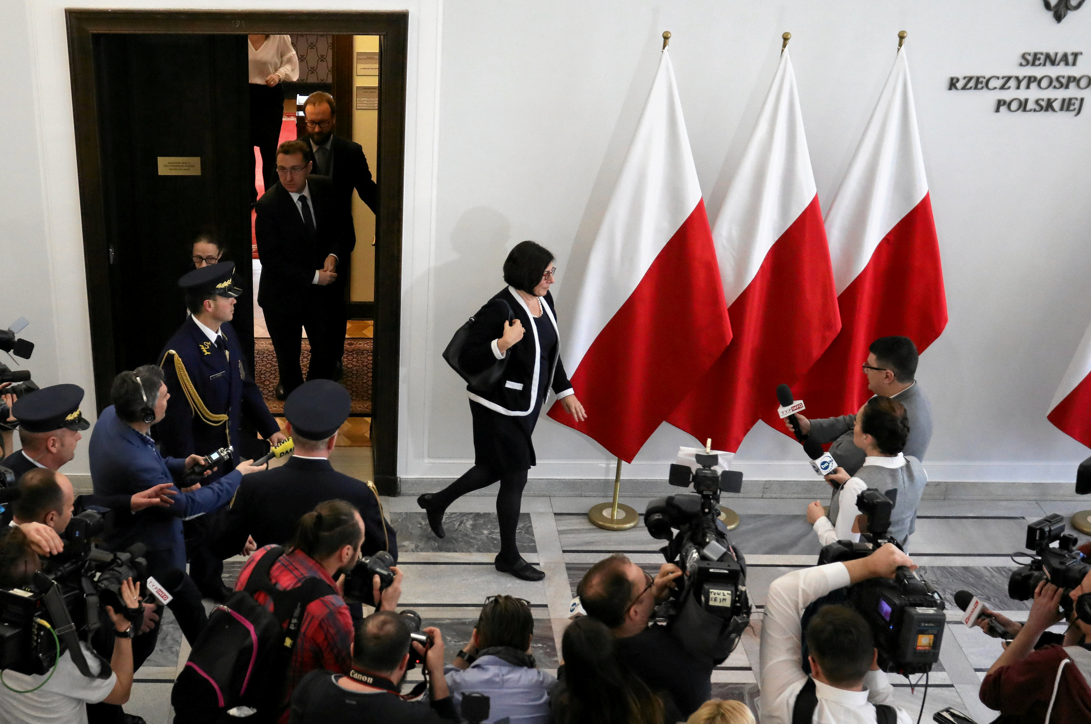 Israel's Ambassador to Poland, Anna Azari, is seen after a meeting with Poland's Senate Marshal Stanislaw Karczewski, in Warsaw, Poland January 31, 2018.