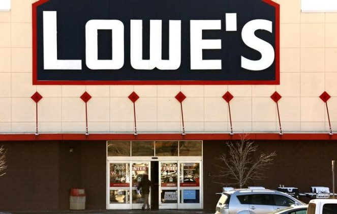 A view of the sign outside the Lowes store in Westminster, Colorado February 26, 2014