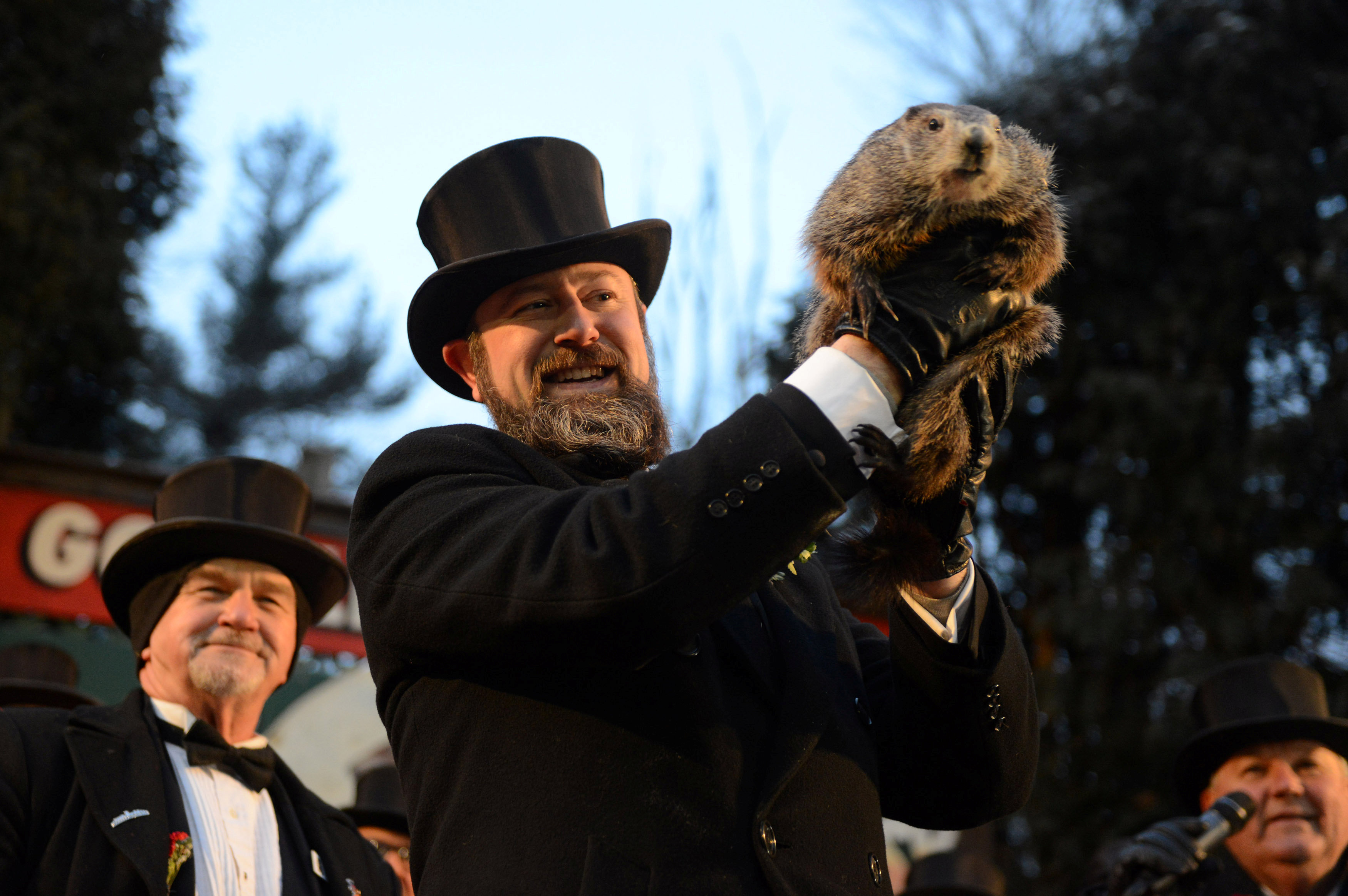 Groundhog co-handler A.J. Derume holds Punxsutawney Phil at Gobbler's Knob on the 132nd Groundhog Day in Punxsutawney, Pennsylvania, U.S. February 2, 2018. REUTERS/Alan Free