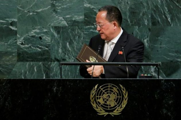 North Korean Foreign Minister Ri Yong-ho departs after addressing the 72nd United Nations General Assembly at U.N. headquarters in New York, U.S., September 23, 2017.