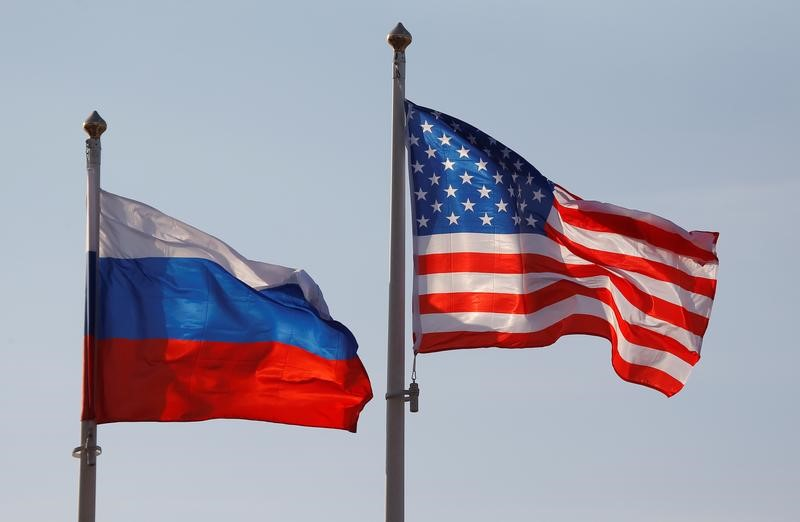 National flags of Russia and the U.S. fly at Vnukovo International Airport in Moscow, Russia April 11, 2017.