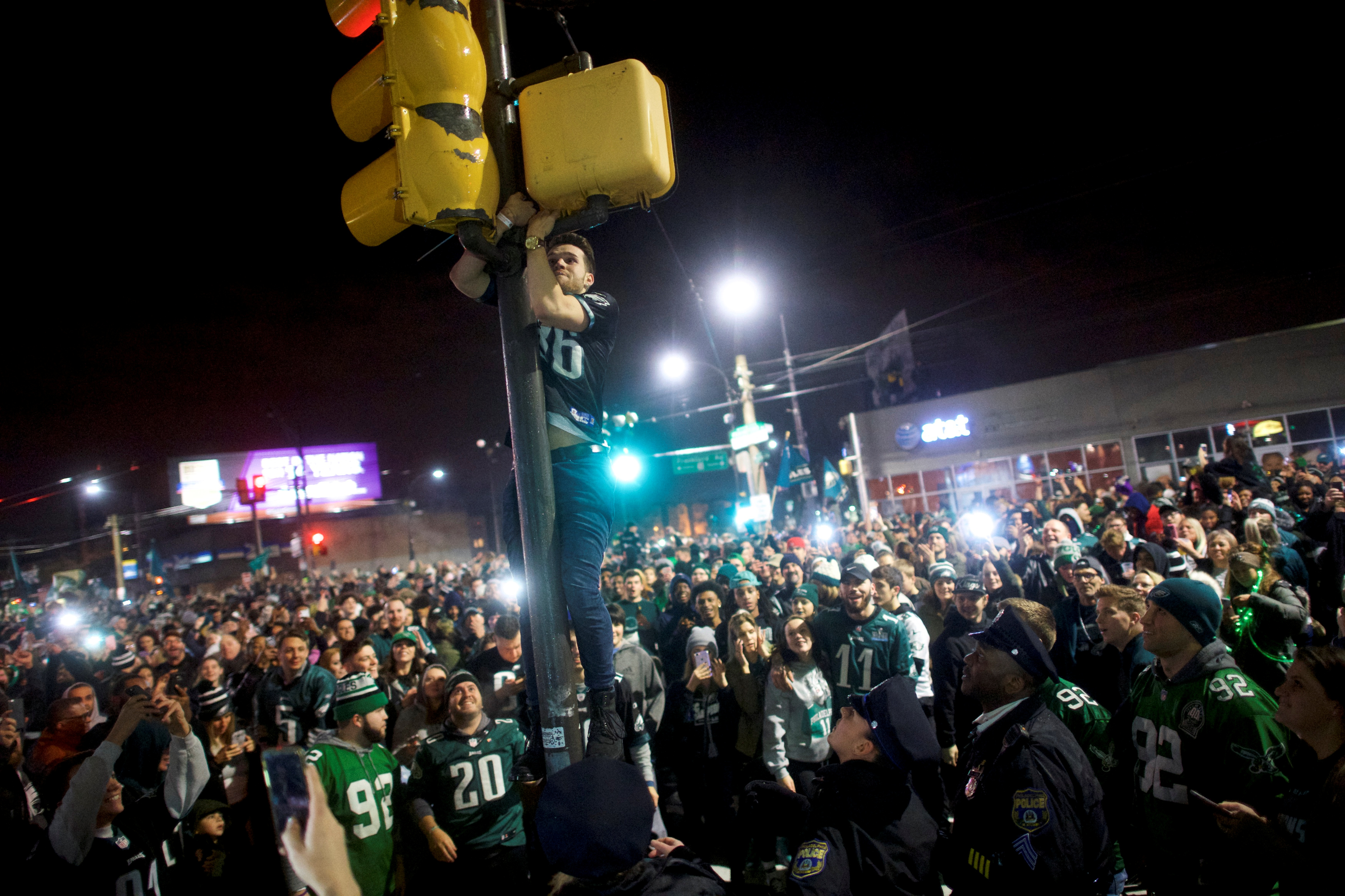Fans celebrate the Philadelphia Superbowl LII victory over the New England Patriots in Philadelphia, Pennsylvania U.S. February 4, 2018.