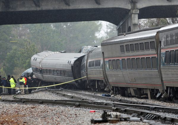 Emergency responders are at the scene after an Amtrak passenger train collided with a freight train and derailed in Cayce, South Carolina, U.S., February 4, 2018.