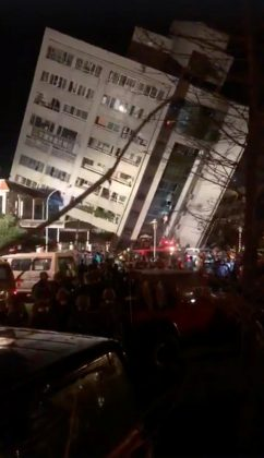 The aftermaths of earth quake are seen in Hualien, Taiwan, February 6, 2018, in this picture grab obtained from social media video.
