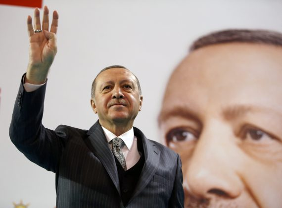 Turkish President Tayyip Erdogan greets his supporters during a meeting of the ruling AK Party in Corum, Turkey January 28, 2018.