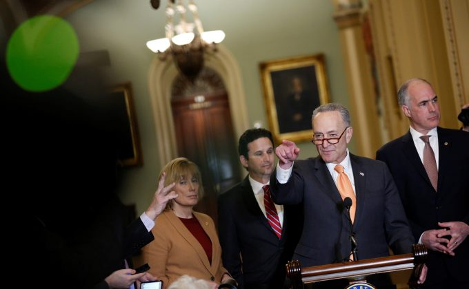 Senate Minority Leader Chuck Schumer (D-NY) speaks during a news conference on Capitol Hill in Washington, U.S., February 6, 2018.