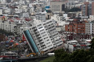 A damaged building is seen after an earthquake hit Hualien, Taiwan February 8, 2018.