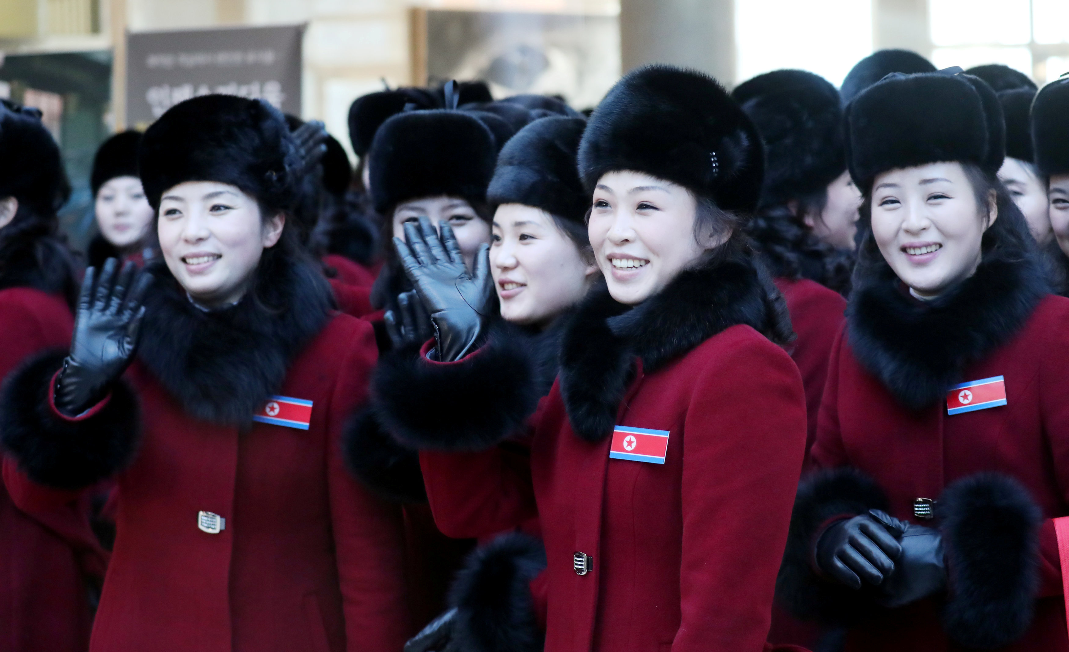Members of North Korean cheering squad arrive at a hotel in Inje, South Korea, February 7, 2018.