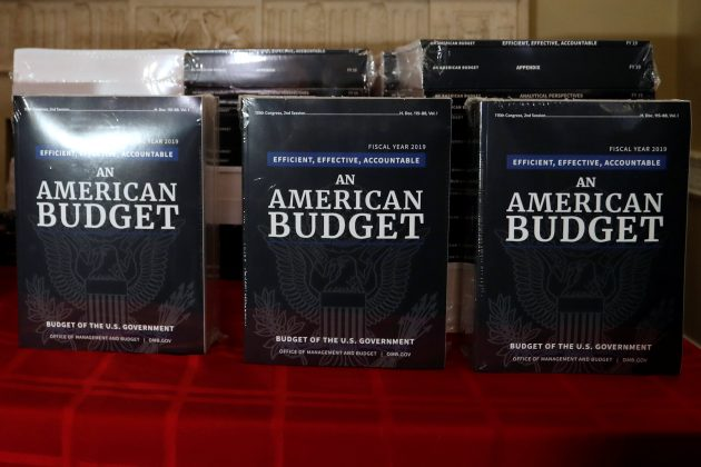 Copies of the President Trump's FY 2019 budget proposal are delivered to the U.S. House Budget Committee offices on Capitol Hill in Washington, U.S. February 12, 2018.