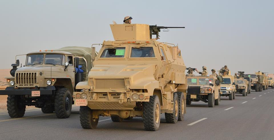 Egyptian Army's Armoured Vehicles are seen on a highway to North Sinai during a launch of a major assault against militants, in Ismailia, Egypt, in this undated handout picture made available by the Ministry of Defence February 9, 2018. Ministry of Defence/Handout via REUTERS
