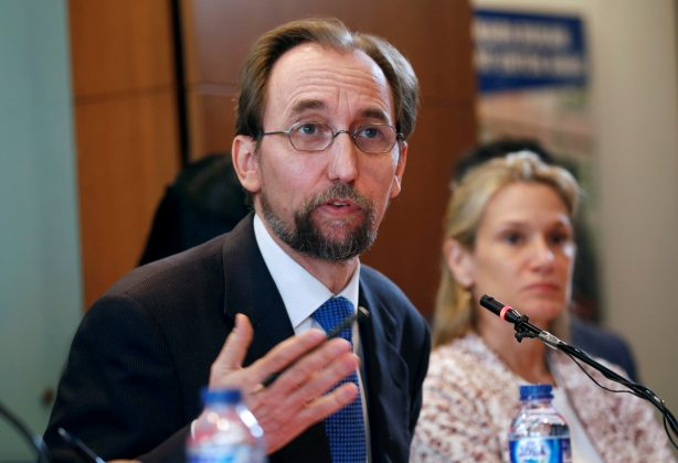 U.N. High Commissioner for Human Rights Zeid Ra'ad al-Hussein talks to reporters in Jakarta, Indonesia February 7, 2018. REUTERS/Beawihart