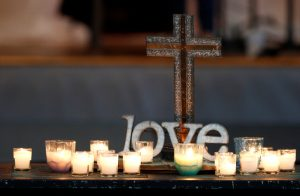 Seventeen candles are seen during a service at Christ Church United Methodist Church for each of the dead in the shooting in Fort Lauderdale, Florida, U.S. February 18, 2018. REUTERS/Joe Skipper