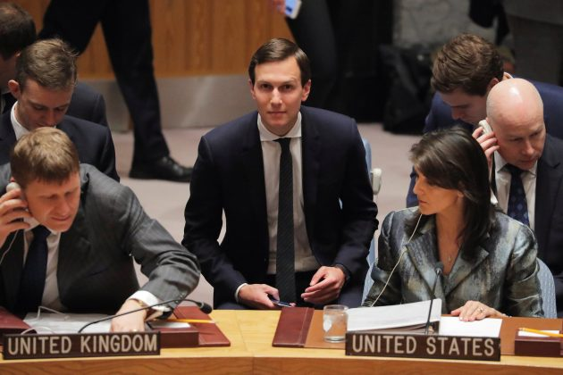 White House senior adviser Jared Kushner seen with United States Ambassador to the United Nations (UN), Nikki Haley, and lawyer Jason Greenblatt (R) before a meeting of the UN Security Council at UN headquarters in New York, U.S., February 20, 2018. REUTERS/Lucas Jackson