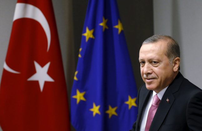 ILE PHOTO: Turkey's President Tayyip Erdogan looks on ahead of a meeting at the EU Parliament in Brussels, Belgium October 5, 2015. REUTERS/Francois Lenoir/File Photo