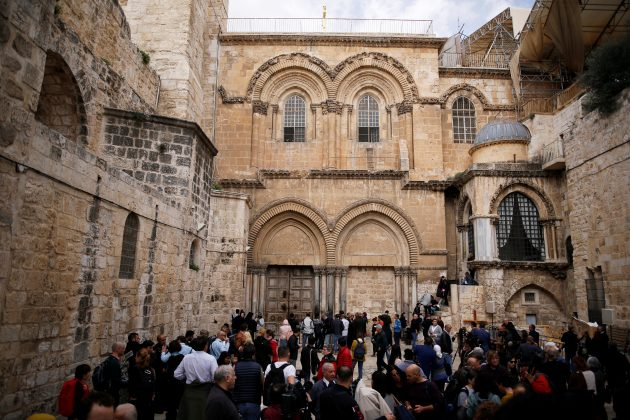 A general view of the entrance and the closed doors of the Church of the Holy Sepulchre in Jerusalem's Old City, February 25, 2018. REUTERS/Amir Cohen
