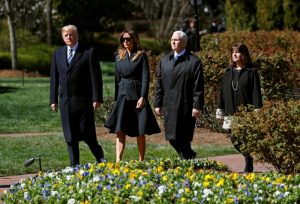 U.S. President Donald Trump, first lady Melania Trump, Vice President Mike Pence and Karen Pence attend the funeral of Rev. Billy Graham in Charlotte, North Carolina, U.S. March 2, 2018. REUTERS/Kevin Lamarque