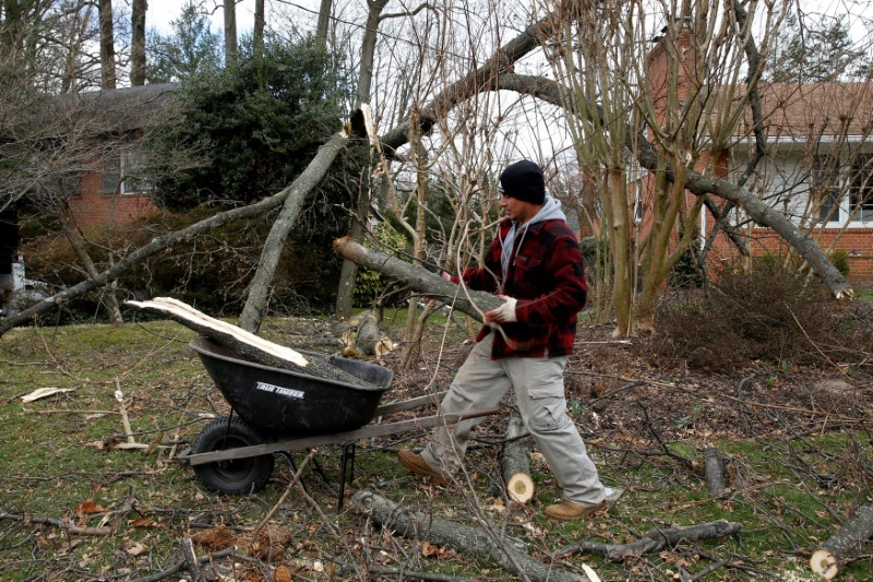 A worker clear debris from a tree that had fallen on to a house as a storm bringing high winds passes over Kensington, Maryland, U.S., March 2, 2018. REUTERS/Joshua Roberts