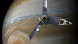 An illustration depicting the U.S. space agency's Juno spacecraft in orbit above Jupiter's Great Red Spot. NASA/JPL-Caltech/Handout via REUTERS