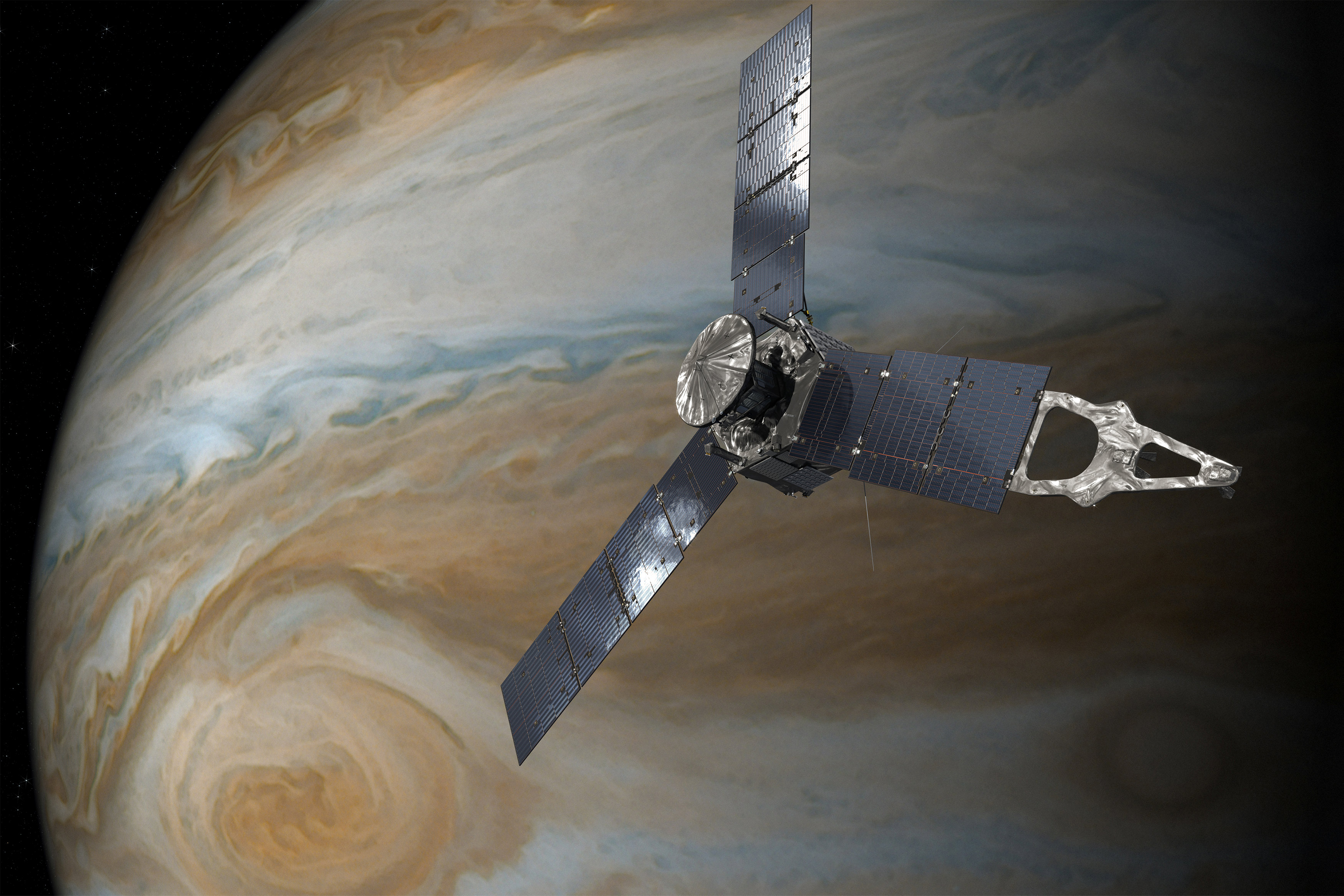 An illustration depicting the U.S. space agency's Juno spacecraft in orbit above Jupiter's Great Red Spot. NASA/JPL-Caltech/Handout via REUTERS