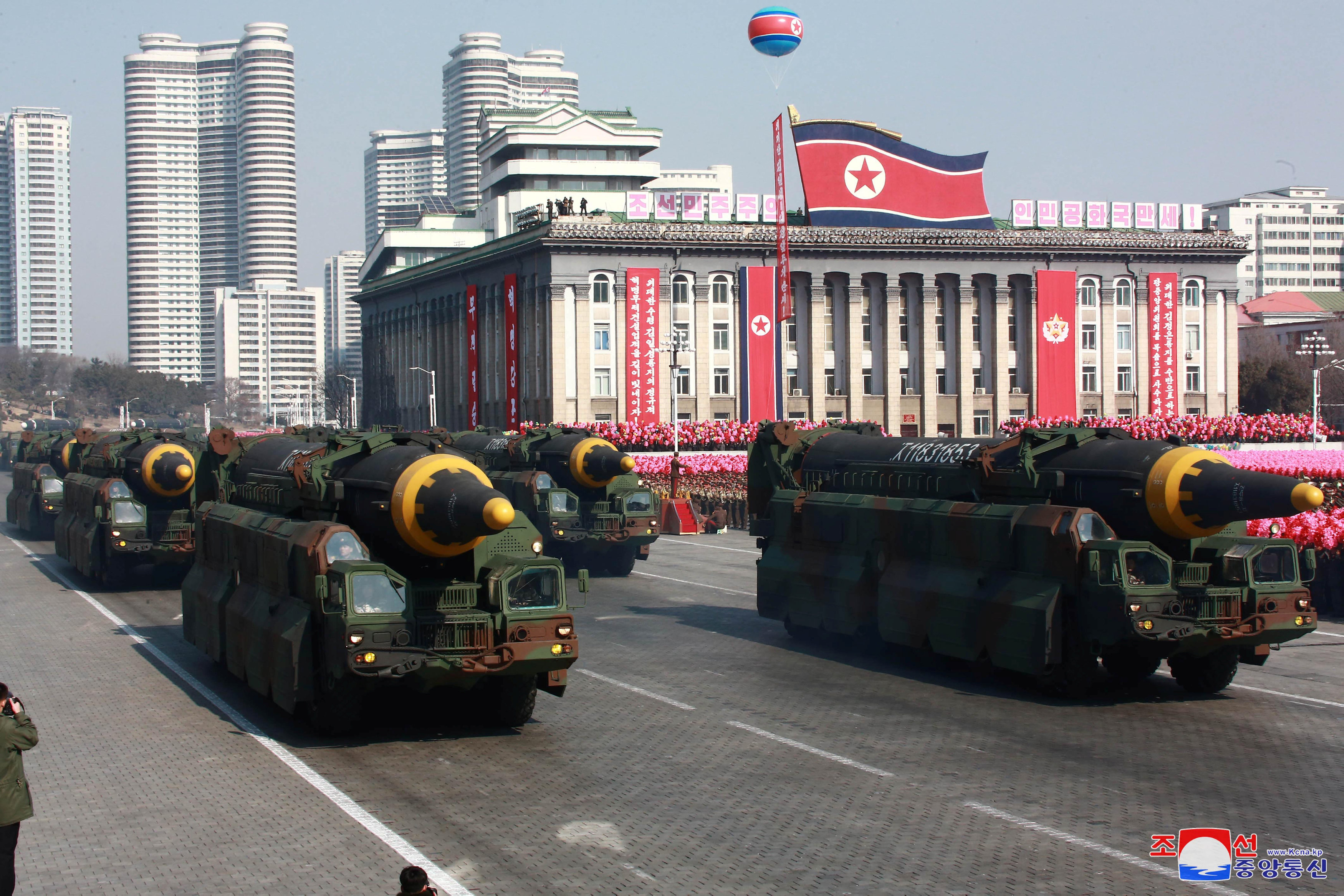 FILE PHOTO - Intercontinental ballistic missiles are seen at a grand military parade celebrating the 70th founding anniversary of the Korean People's Army at the Kim Il Sung Square in Pyongyang, in this photo released by North Korea's Korean Central News Agency (KCNA) February 9, 2018. KCNA/via REUTERS