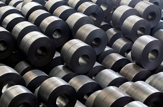 FILE PHOTO: Rolled steel are seen at a Hyundai Steel plant in Dangjin, about 130 km (81 miles) southwest of Seoul June 15, 2011. REUTERS/Lee Jae-Won/File Photo