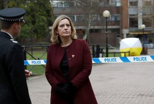Britain's Home Secretary Amber Rudd, accompanied by Temporary Chief Constable Kier Pritchard, visits the scene where Sergei Skripal and his daughter Yulia were found after having been poisoned by a nerve agent in Salisbury, Britain, March 9, 2018. REUTERS/Peter Nicholls