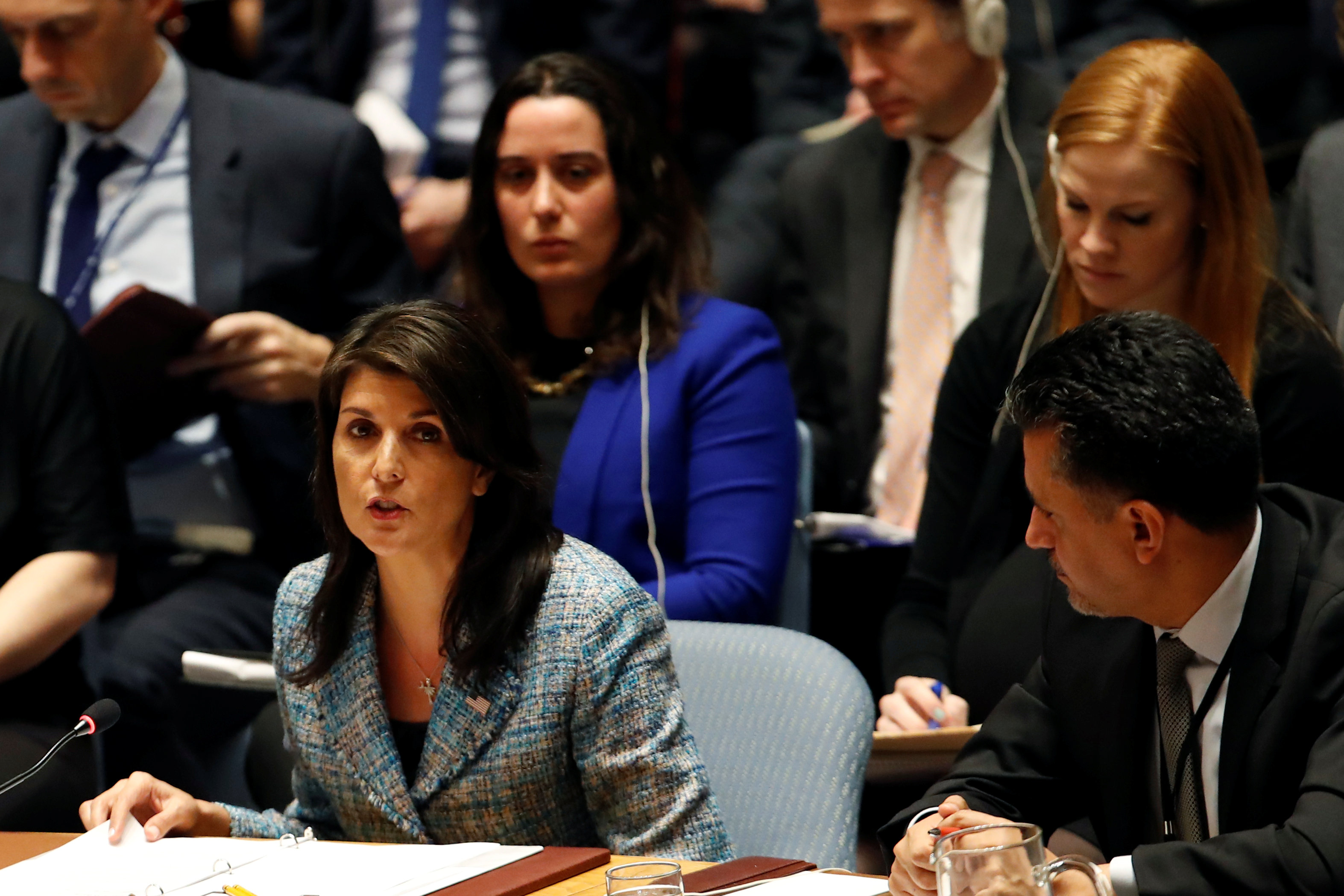 United States Ambassador to the United Nations Nikki Haley addresses the U.N. Security Council on Syria during a meeting of the Council at U.N. headquarters in New York, U.S., March 12, 2018. REUTERS/Mike Segar