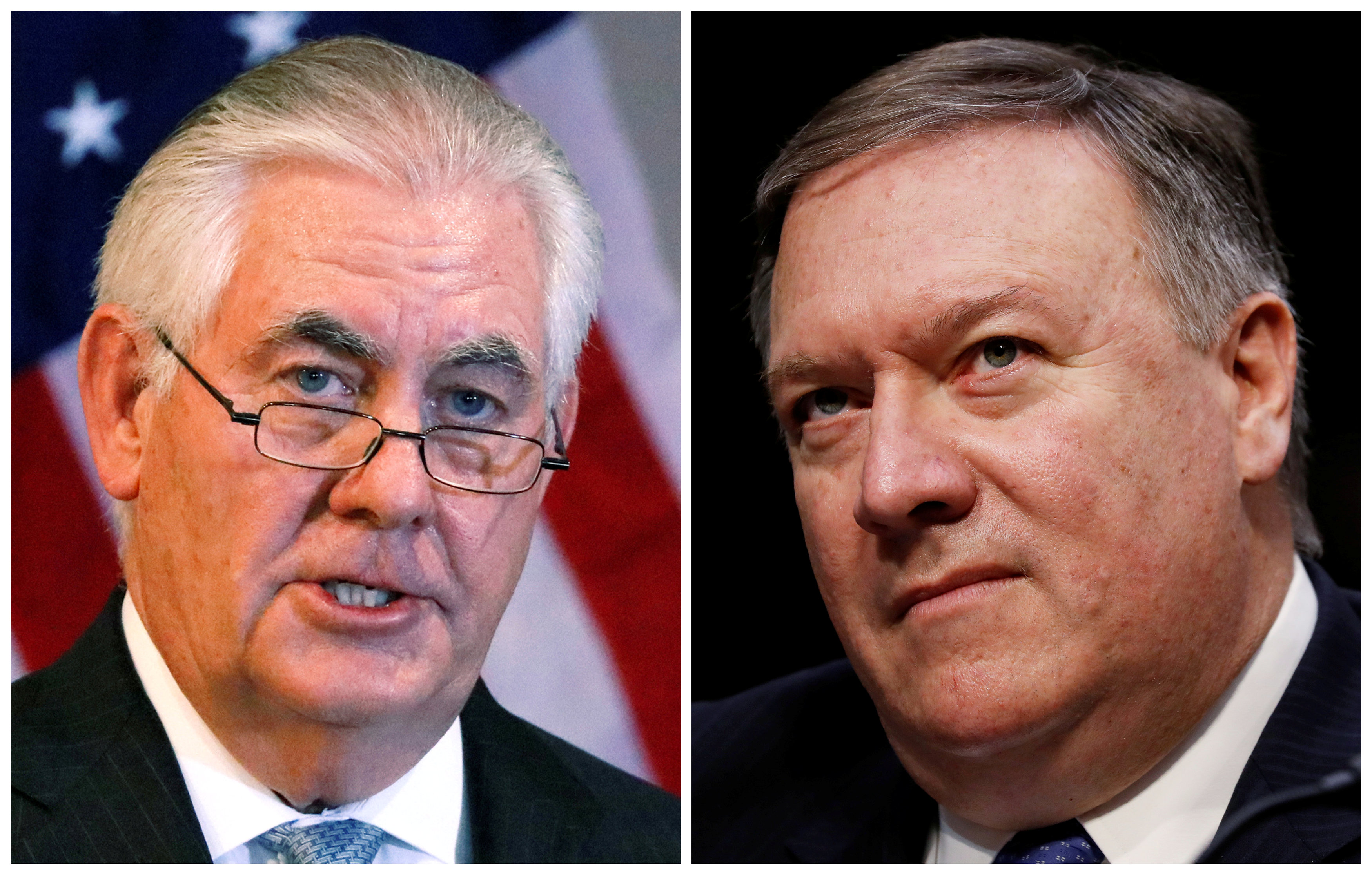 FILE PHOTO: A combination photo shows U.S. Secretary of State Rex Tillerson (L) in Addis Ababa, Ethiopia, March 8, 2018, and Central Intelligence Agency (CIA) Director Mike Pompeo on Capitol Hill in Washington, DC, U.S., February 13, 2018 respectively. REUTERS/Jonathan Ernst (L) Aaron P. Bernstein (R)