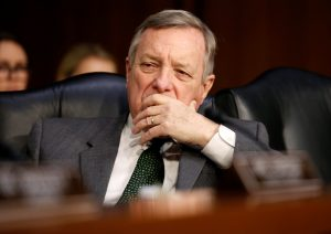 Senator Dick Durbin (D-IL) listens to testimony to the Senate Judiciary Committee during a hearing about legislative proposals to improve school safety in the wake of the mass shooting at the high school in Parkland, Florida, on Capitol Hill in Washington, U.S., March 14, 2018. REUTERS/Joshua Roberts