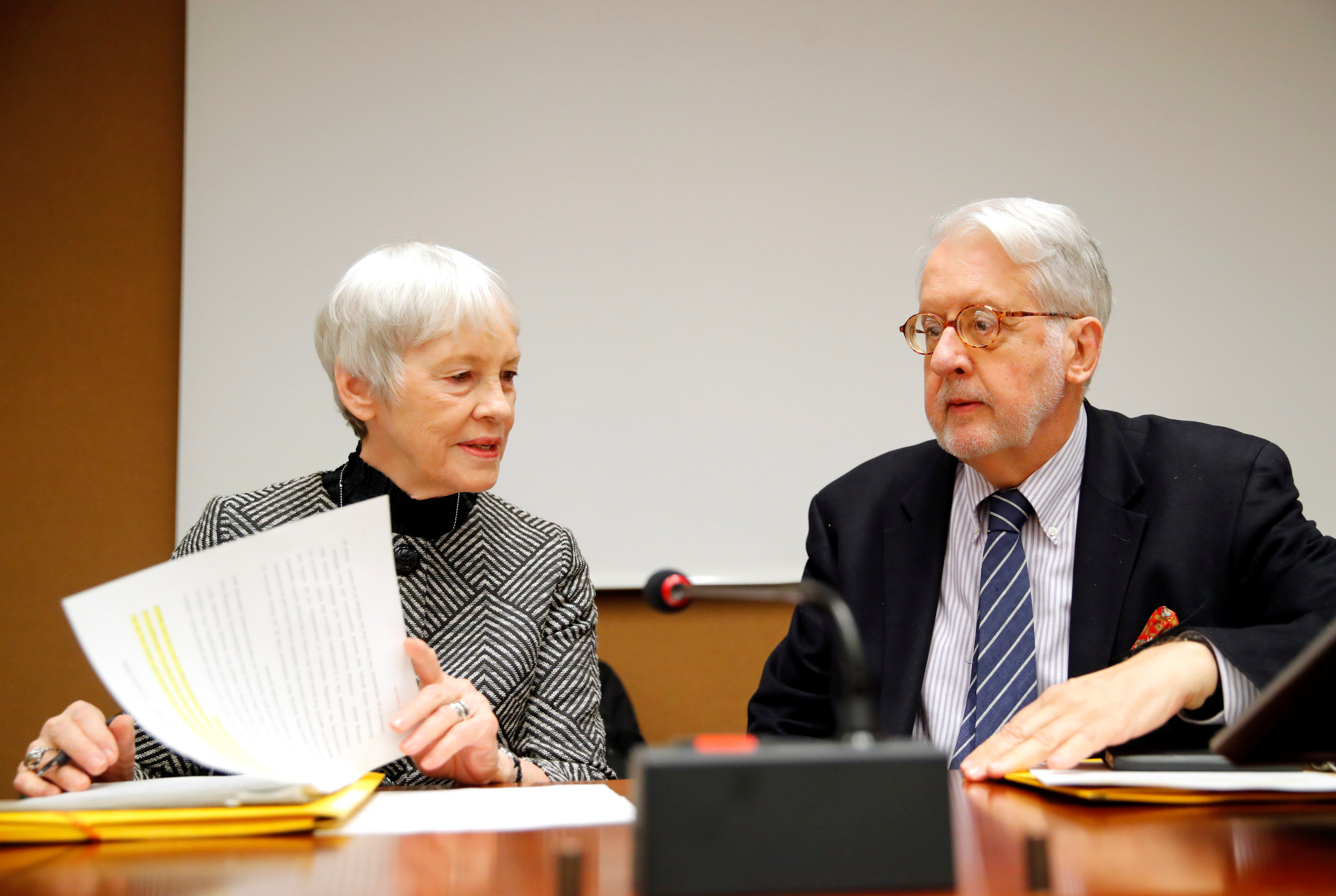 Paulo Pinheiro, Chairperson of the Commission of Inquiry on Syria (R), arrives with Karen Abuzayd, member of the Commission before the launch of their report on sexual and gender-based violence in Syria at the United Nations office in Geneva, Switzerland March 15, 2018. REUTERS/Denis Balibouse